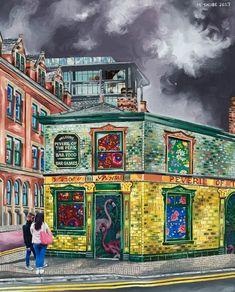 Peveril of the peak pub in Manchester, art print by Michelle Taube Manchester Art, Unique Art, Fine Art Prints, Landscape, Illustration, Artwork, Claire, Painting, Artists