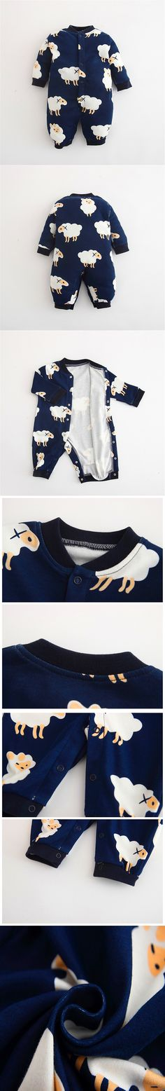 2016 Newborn Winter Autumn 100% Cotton Warm Long Sleeves Baby Rompers Girls Boys Cartoon Sheep INS Infant Jumpsuit Baby Clothes $21.99