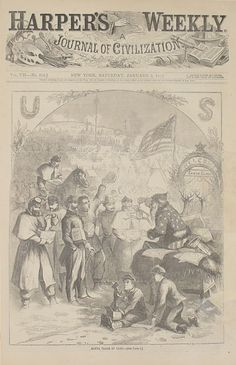 """Note that Santa wears the colours and patterns of the American flag in """"Santa Claus in Camp."""" Does this imply that he already had a dress style and he is now breaking it? Or can any character without a set dress go """"camp""""? Thomas Nast. Wood engraving, 1863."""