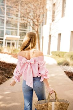 bow off the shoulder top spring fashion spring style styling for spring and summer warm weather fashion fashion tips for spring style ideas for spring a lonestar state of southern Casual Outfits, Cute Outfits, Fashion Outfits, Fashion Tips, Fashion Fashion, Fashion Updates, Fashion Ideas, Korean Fashion, Fashion Trends