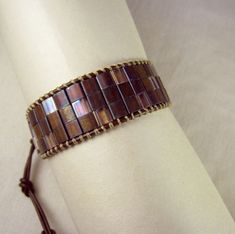 Leather Wrap Cuff Bracelet, Bronze Japanese Tila Beads, button closure - product images  of