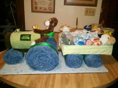 Diaper tractor & wagon .using blue jean colored diapers