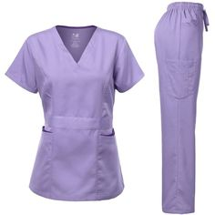 Medical Uniform Women's Scrubs Set Stretch Contrast pocket Ceil Blue XS: Dagacci Medical Uniform Scrub Woman junior style missy Fit V-Neck Top, Contrast binding pocket top and cargo pockets pants Cute Scrubs Uniform, Cute Nursing Scrubs, Scrubs Outfit, Nursing Clothes, Scrub Suit Design, Scrubs Pattern, Beauty Uniforms, Plus Size Inspiration, Medical Uniforms