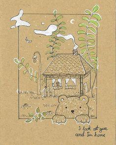 Illustration for today 🌟 #ecopaper#illustration#inspiration#drawing#doodle#painting#art#polishart#polishgirl#art_help#cute#bear#rysunek#rysunki#sztuka#postcard#design#nathalyacraft#green#nature#eco#luv