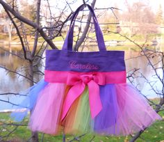 Embroidered Dance Bag - Purple Tote Bag with Rainbow Tulle and Hot Pink Ribbon Tutu Tote Bag - TB145 - A. $24.00, via Etsy.