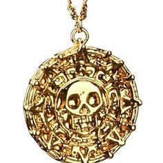 Piratas do Caribe asteca antigo Colar Pingente crânio do ouro Exagerado Colar Vintage Fashion Men – BRL R$ 15,49