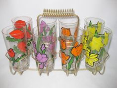 Drinking Glasses, Mod Floral Drinking Glasses with Metal Carrier, Federal 8 12.5 oz Beverage Glasses by FreeLiving on Etsy