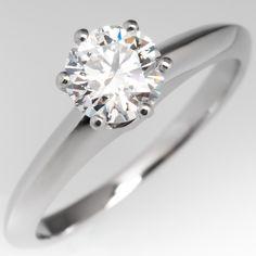 Tiffany Diamond Solitaire Engagement Ring Platinum .61CT D/VVS2