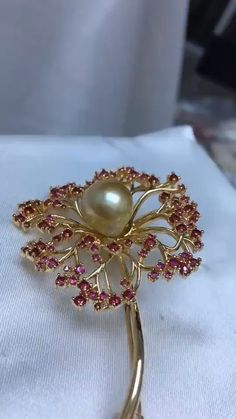 Gold Plated Silver South Sea Gold Pearl Brooch With Red Crystal - - 14k Gold Jewelry, Pearl Jewelry, Fine Jewelry, Yoga Jewelry, Hippie Jewelry, Tribal Jewelry, Crystal Jewelry, Vanki Designs Jewellery, Jewelry Design