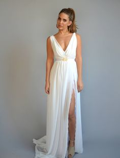 chiffon wedding dress, lace slit wedding dress, V neck wedding dress, open back wedding dress,chiffon wedding dress This classic broken white boho Slit Wedding Dress, Boho Chic Wedding Dress, Open Back Wedding Dress, Classic Wedding Dress, Sexy Wedding Dresses, Boho Dress, Wedding Gowns, Trendy Wedding, Wedding Beach