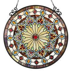 """Amazon.com: HELENA, Tiffany-glass Victorian Window Panel 23.5"""": Home & Kitchen"""
