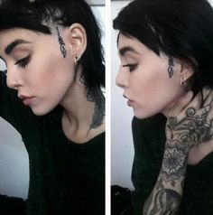 Pretty line work. 'Unalome' symbol means reaching enlightenment; by artist Hannah Pixie Snowdon. Unalome Tattoo, I Tattoo, Scalp Tattoo, Tattoo Blog, Mandala Tattoo, Hannah Snowdon Tattoo, Hannah Pixie Snowdon, Face Tats, Girl Face Tattoo