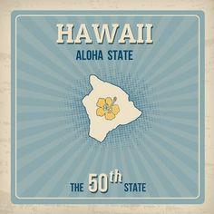 Hawaii Travel Vintage Grunge Poster Vector Illustration