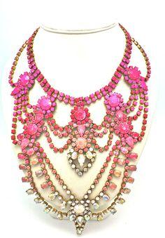 making a statement? #necklace #statement #jewelry #colorful #royal #fashion #retro #rhinestones #highend #luxury