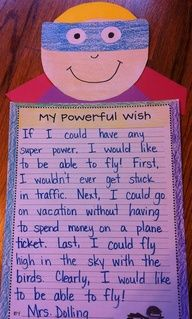 Great for back to school and a sample of the kids' writing! super power writing