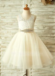 A-Line/Princess Knee-length Appliques Bow(s) Rhinestone Tulle Lace Sleeveless Flower Girl Dress Flower Girl Dress