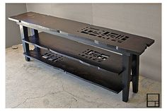 MSTRF / AD Block Series - 78Lx16Wx28H Entertainment/TV Console Abstract Modern Rusticwith 2 shelves / Dark Walnut Finish