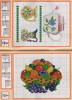 "ru / irisha-ira - album ""Other"" Counted Cross Stitch Patterns, Cross Stitch Charts, Cross Stitch Designs, Cross Stitch Embroidery, Embroidery Patterns, Cross Stitch Fruit, Cross Stitch Kitchen, Cross Stitch Flowers, Cross Stitch Geometric"