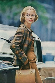 Gretchen Harris, September Vogue 1956 How will you wear luggage tan this fall?