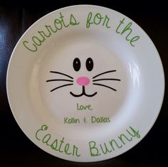 Carrots for the Easter Bunny Plates!Personalization Optional! by KRAFTSBYKRISTINANN on Etsy https://www.etsy.com/listing/226082637/carrots-for-the-easter-bunny