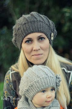 Knitting pattern for Cool Wool Hat and Cowl set in adult and baby sizes