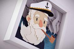 Sea papercut illustrations on Behance marinero de cartón puestas unas sobre otras