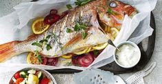 Prepare this snapper and Greek potato salad in 20 minutes, then chat to guests while it bakes.