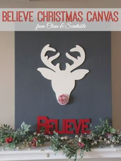 DIY Christmas Canvas.  This is so cute!