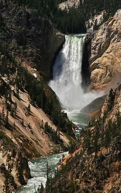 Yellowstone Upper Falls, Wyoming  Im starting to warm up to the idea of hiking/glamping in my life.