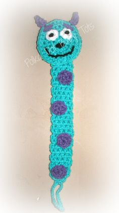 Crochet paci clips Inspired by Sully from Monsters Inc