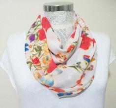 Weasel Infinity scarf, Circle Scarf, Loop Scarf, Scarves, Shawls, Spring-Fall-Winter-Summer fashion, Woman Fashion, flowered scarf, red blue