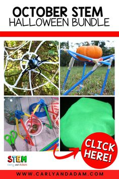 This Halloween, challenge your elementary STEM students with spooky Halloween STEM challenges by Carly and Adam. Build a pumpkin stand, design a spider web, explore states of matter with slime, create a catapult to launch a candy pumpkin the farthest distance, and create a hanging cauldron that can hold the most marbles. Perfect for October STEM challenges! #STEM