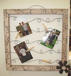 Wire Picture/Note Frames How To! shape into musical notes? Wire Picture Holders, Wire Picture Frames, Craft Tutorials, Craft Ideas, Project Ideas, Decorating Ideas, Cute Crafts, Diy Crafts, Craft Club