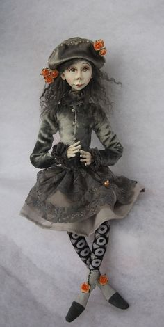 Agnes Art doll OOAK doll Paper clay doll Handmade dollAir by JuraD