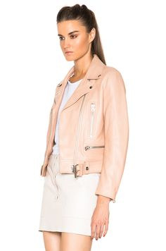 Image 3 of Acne Studios Mock Leather Jacket in Peach