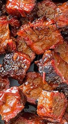 "Barbecued Beef Brisket ""Burnt Ends"" ~ The spicy, tangy sauce will stil… Barbecued Beef Brisket ""Burnt Ends"" ~ The spicy, tangy sauce will still remind you of Kansas City-style barbecue!… from America's Test Kitchen ""Cook's Country"" Barbecued. Bbq Brisket, Bbq Beef, Smoked Brisket, Barbecue Recipes, Grilling Recipes, Pork Recipes, Vegetarian Grilling, Healthy Grilling, Barbecue Sauce"