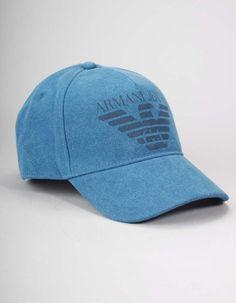 Armani Jeans Blue Woven Big Logo Cap | Accent Clothing