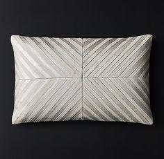 Metallic Linen Pleated Chevron Pillow - Lumbar