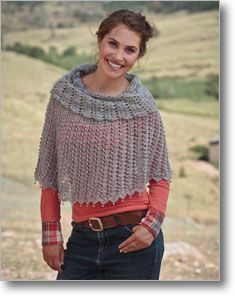 Pretty! Lady Blue Warmer wrap, Interweave Crochet