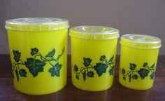 1950s Yellow Kitchen Canisters Ivy Set of 3 by BijouVintageBazaar