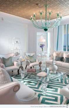 turquoise rooms   15 Scrumptious Turquoise Living Room Ideas   Home Design Lover
