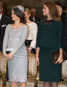 Princess Sofia, March 3, 2016 | Royal Hats: Princess Sofia topped her grey dress with a new coordinating calot trimmed with floral lace appliqué and a birdcage veil.