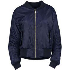 Boohoo Khloe MA1 Bomber Jacket | Boohoo (720 MXN) ❤ liked on Polyvore featuring outerwear, jackets, tops, puffy jacket, blouson jacket, duster coat, bomber style jacket and wrap jacket