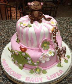 fondant edible baby girl pink flower cake topper baby shower, Baby shower invitation