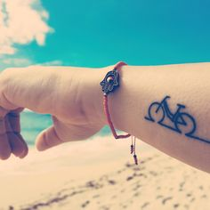 #tattoo #bicycle #beach #ideas #design #wrist #outline #tattooforgirls