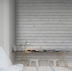 Wall mural R12582 Horizontal Boards, white