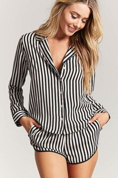 Product Name:Striped Satin PJ Set, Category:intimates_loungewear, Satin Pyjama Set, Satin Pajamas, Pajama Set, Plaid Pajamas, Cute Pajamas, Striped Pyjamas, Pijamas Women, Cute Sleepwear, Lingerie Fine