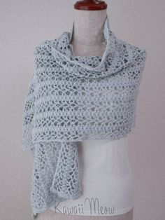 Cotton Stole Shawl Ice Blue by KawaiiMeow on Etsy,