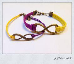 LSU Tigers Glittery Purple, Golden Yellow and Bronze Infinity Sports Fan Wrap Bracelets