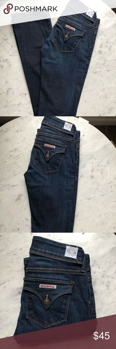 Hudson Beth Baby Boot Size 25 These Hudson jeans are a must have. So trendy! Very flattering! Excellent condition. Nice dark wash goes with anything. Size 25. Smoke free home. No trades. Thanks for looking! Hudson Jeans Jeans Boot Cut